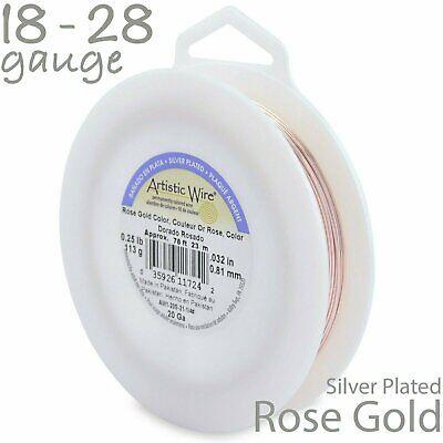 Rose Gold Artistic Wire 1/4LB Spool - Non Tarnish Silver Plated Craft Wire Non Tarnish Silver Artistic Wire