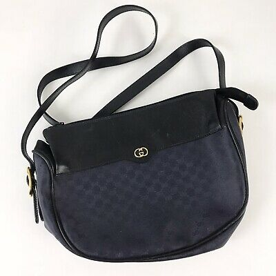 Vintage Gucci Shoulder Bag Crossbody Navy Blue Logo Monogram Leather PVC