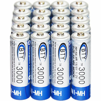 20 pcs X AA BTY Rechargeable Battery 3000mAh Ni-MH 1.2V US Fast Ship