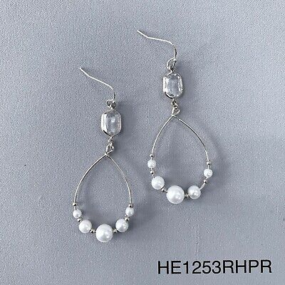 Silver Finished Brass Plated Clear Stone Tear Drop Pearl beads Dangle Earrings