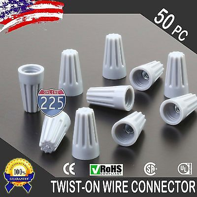(50) Grey Twist-On Wire GARD Connector Conical nuts 22-16 Gauge Barrel Screw US