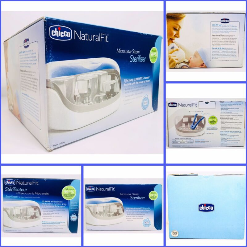 Chicco Natural Fit Microwave Baby Bottle Steam Sterilizer White/Gray Brand New