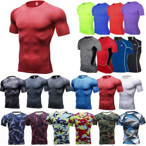 Herren Kurzarm Tops Oberteile Fitness Sports Gym Kompression T-Shirt Unterhemd