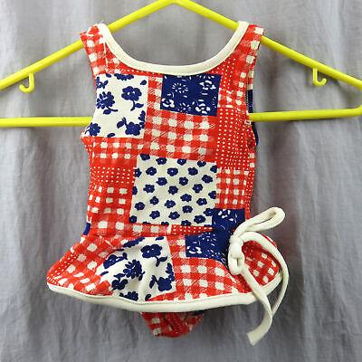 Vintage Kmart Geblümt und Kariert Baby Badeanzug mit Rock 4 Monate Rot-Weiß-Blau ()
