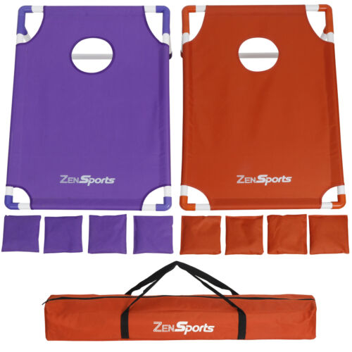 Portable PVC Framed Collapsible Cornhole Beanbag Toss Game W/8 Bags + Carry Case Backyard Games