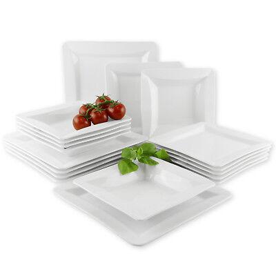 Suleno® Geschirr Set VIOLA Tafelservice 18-tlg. EXTRA WEISS 6 Personen Teller Geschirr-set