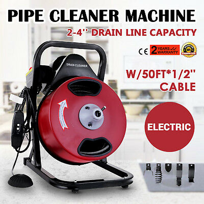 50ft X 12 Drain Cleaner 250 W Drain Cleaning Machine Sewer Clog W 5 Cutters