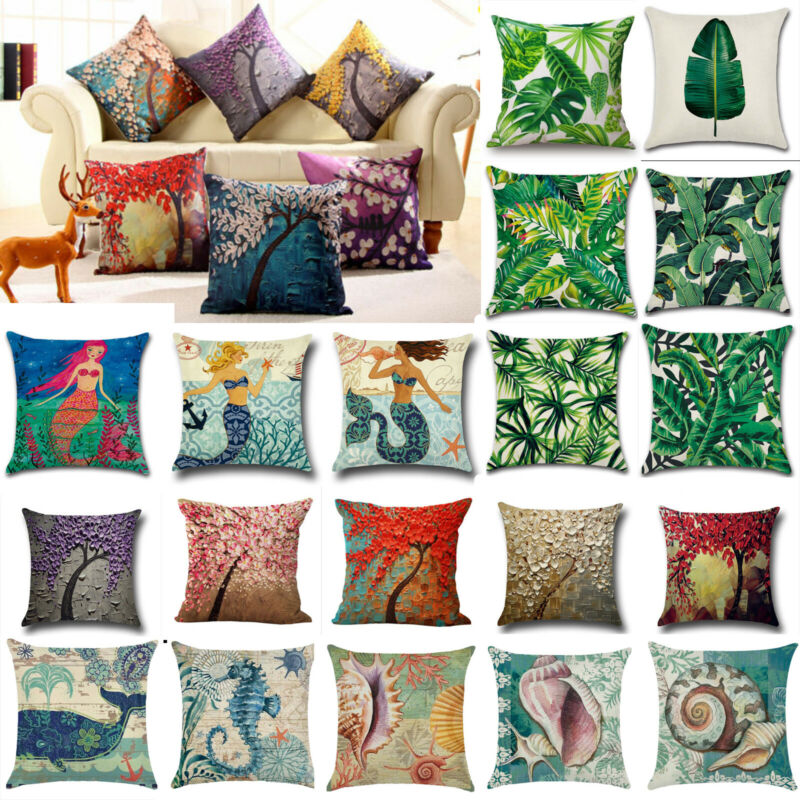 Floral Ocean Cotton Linen Pillow Cover Waist Throw Cushion C