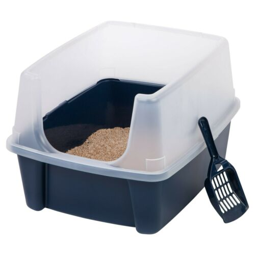 Open-Top Cat Litter Box with Shield and Scoop, Navy, Easy Cleaning, Pet Supplies