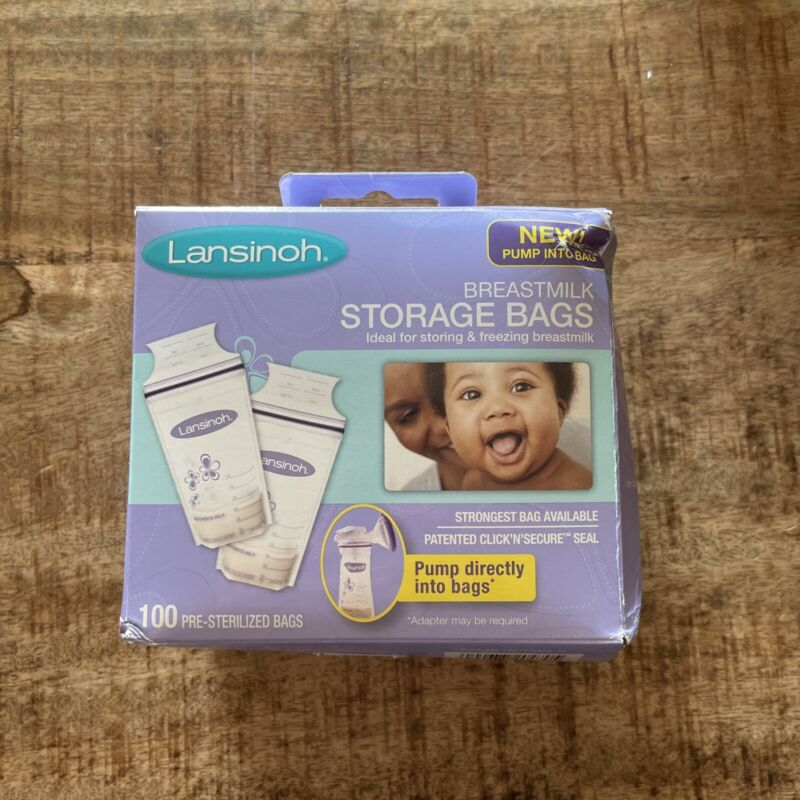 Lansinoh Breastmilk Storage Bags, 100 Pre-Sterlized Bags New Dented Box