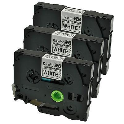 3 Schriftbänder für Brother P-Touch TZE-S231 8m/12mm Schwarz auf Weiß