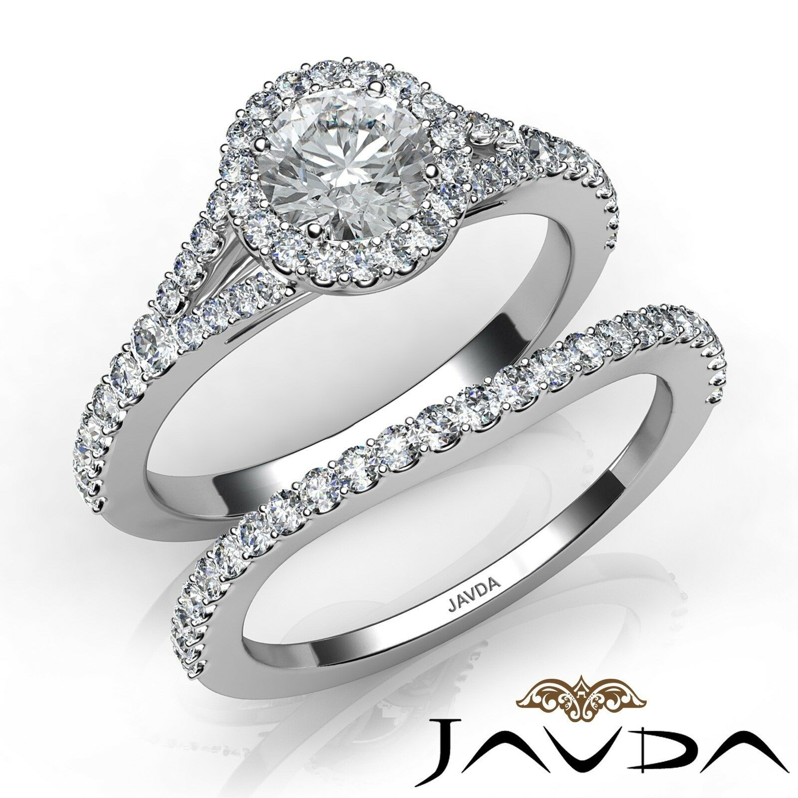1.05ctw Floating Halo Bridal Set Round Diamond Engagement Ring GIA E-VVS1 W Gold