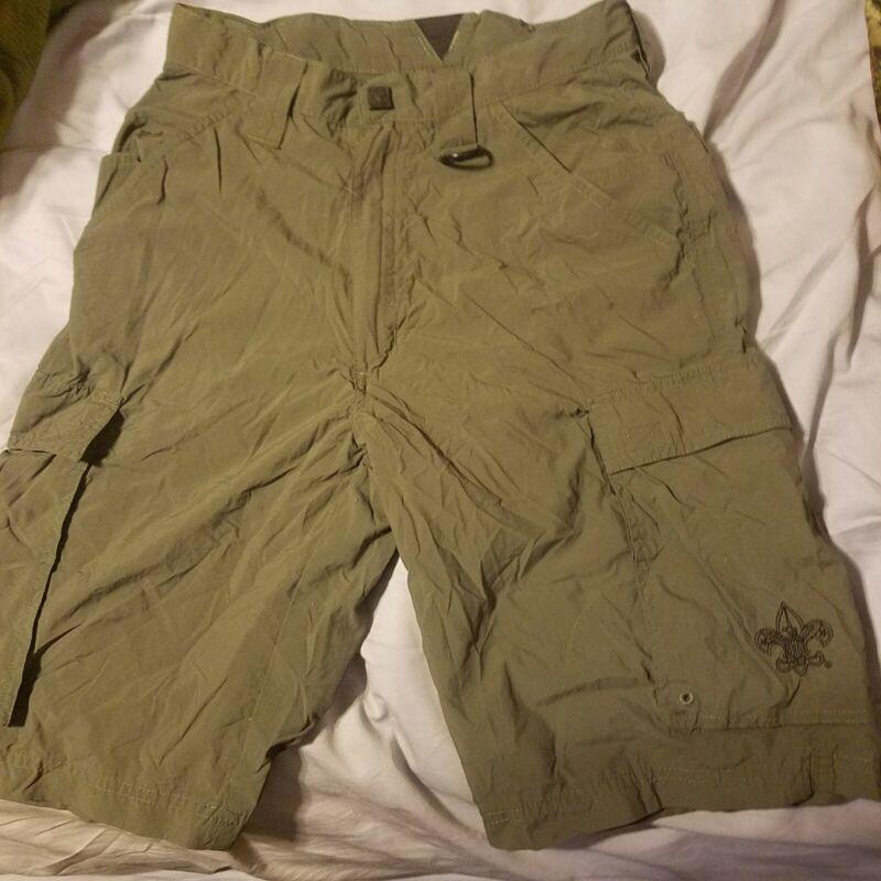BSA Boy Scout of America Adult XS Green Nylon Centennial Uniform Cargo Shorts!!!