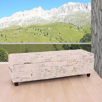 Aufbewahrungstruhe Truhe Kriens Textil, creme, 112x45x45cm Schriftzug