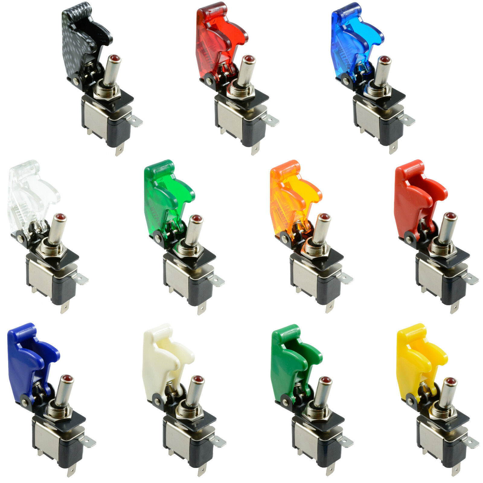illuminated LED Toggle Switch With Missile Style Flick Cover 12V Car Dash SPST