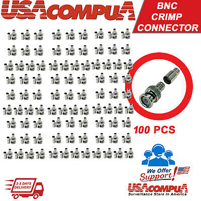 Crimp BNC Connectors Male RG59 Coax Coaxial  For CCTV Camera 100 pcs  Bnc Rg59 Crimp Connector