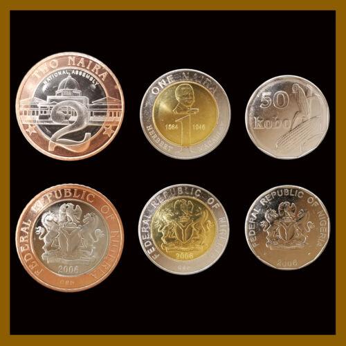 Nigeria 50 Combo & 1 2 Niara (3 Pcs Coin Set), 2006 Unc