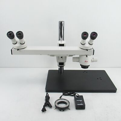 Leica Mz6 Stereo Microscope W Dual Head Teaching Bridge Light Source 1x Obj