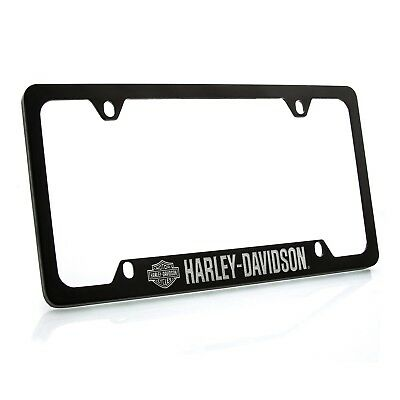 Harley-Davidson Black Powder Coated License Plate Frame with Bar & Shield