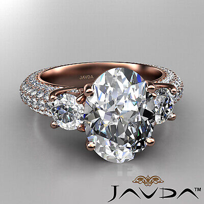 Women's 3 Stone Pave Set Oval Cut Diamond Engagement Ring GIA F Color VS2 3.8Ct 9