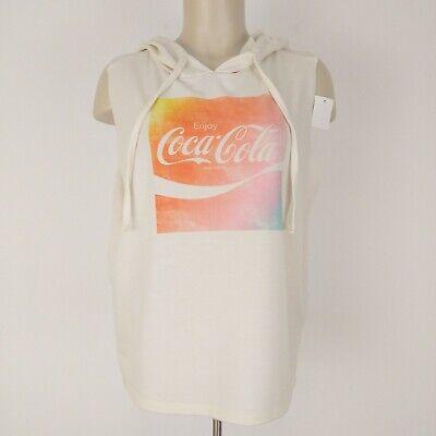 Coca Cola Junior's Sleeveless Graphic Hoodie T-Shirt XL Cream Pastel Drawstring