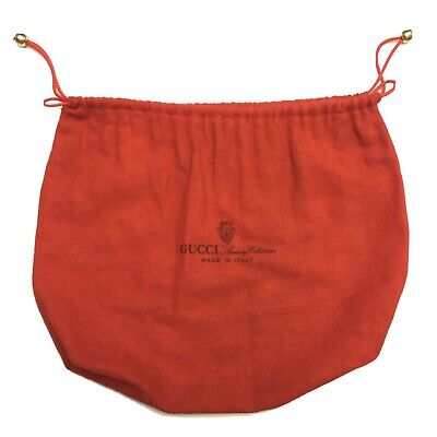 Gucci Vintage Purse Dust Cover Red 100% Cotton Italy Accessory Collection Bag