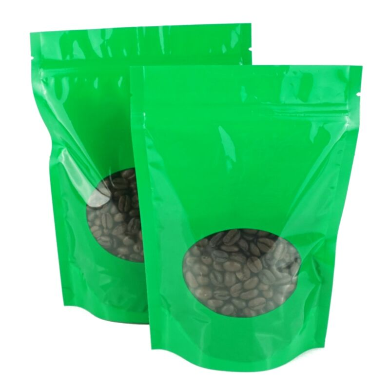 Green Coffee Packaging Bags with Clear Window, Glossy Foil Degassing Valve Bags