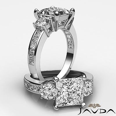 Channel Set Princess Cut 3 Stone Diamond Engagement Ring GIA H SI1 Platinum 2 ct