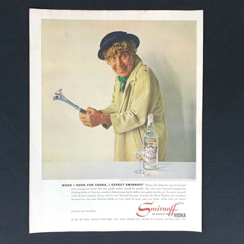 "1961 SMIRNOFF VODKA Harpo Marx Vintage Original Magazine Print Ad 1960s 13.5"""