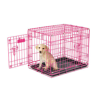 Petmate 24 Inch Adjustable Puppy Dog 2 Door House Training Crate Kennel, Pink