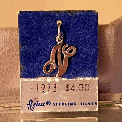 "NEW VTG Sterling Silver Beau Initial ""N"" Charm Pendant 3/4"" On original card"
