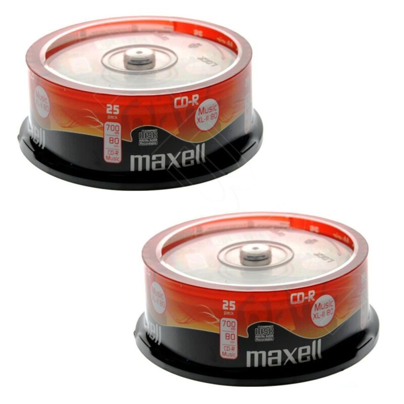 50 x Maxell CD-R Music XL-II Digital Audio Recordable 80Min - In Spindle - NEW
