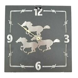 Mustang Horse Running Wall Clock Home Accent Decor Metal Lazart Cabin Lodge