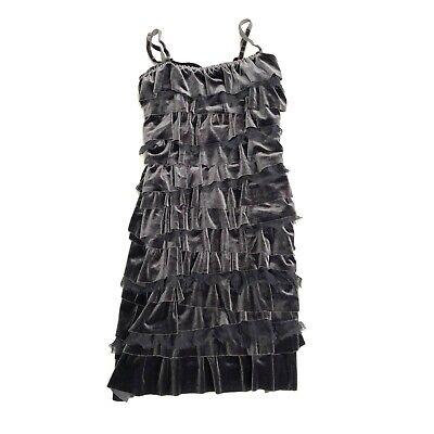 Anthropologie Bailey 44 Womens Tiered Velvet Mini Dress Size XS Gray NEW flapper
