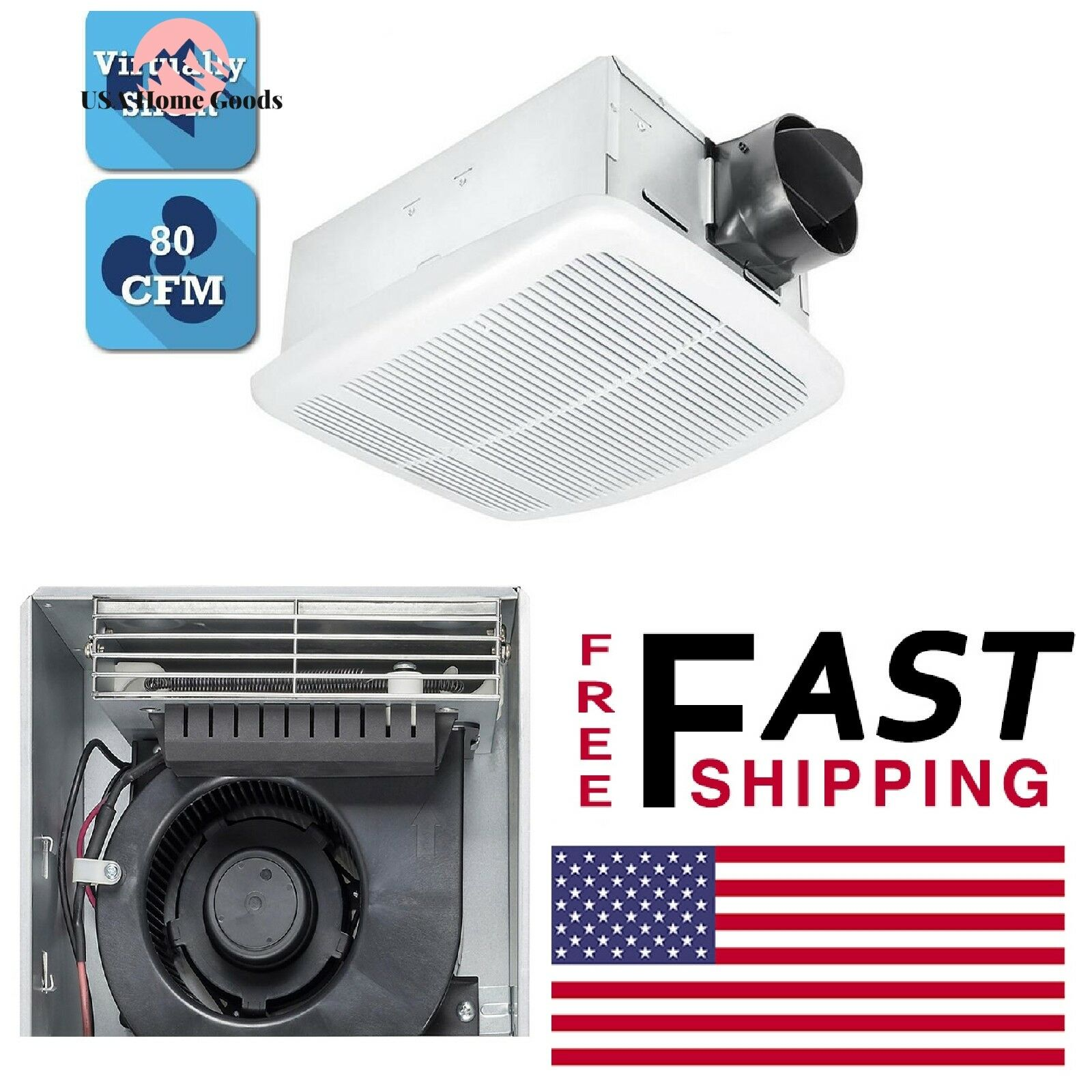 White Square Ceiling Bathroom Exhaust Fan W/ Heater 80 CFM F