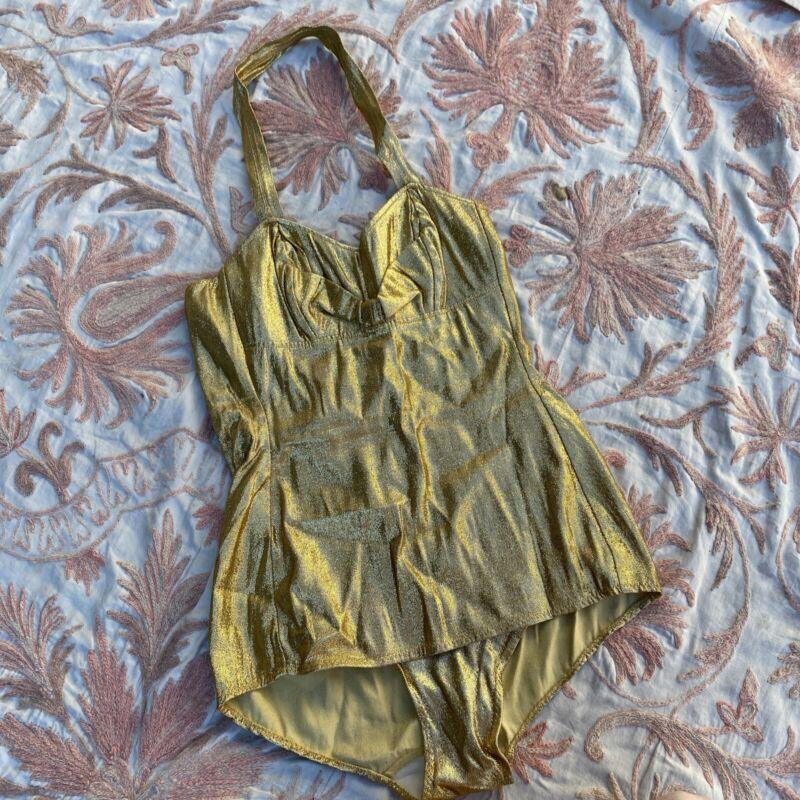 Vintage 1950s Metallic Gold Lamé Knit Bathing Suit Swimsuit Halter Pin Up