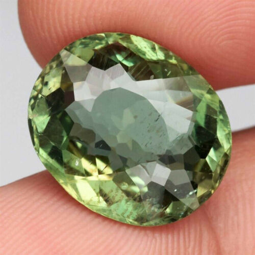 11.46 ct 15.8x13.4 mm Oval Natural Unheated Green Apatite, Brazil