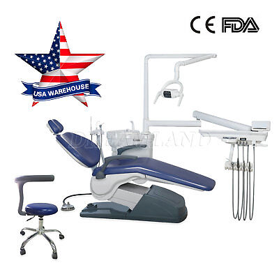 Fda Dental Stool Chair Computer Controlled 110v Hard Leather Diamond Blue Qe1