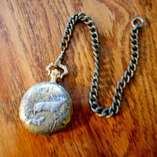 Vintage Aspen Quartz Pocket Watch Dog Hunting Deer Quail