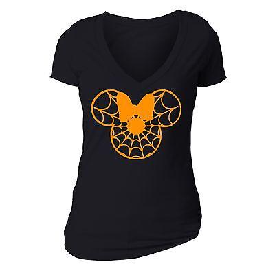 Halloween T-shirt Spider web Bow cartoon ears Boo spooky Funny Women vneck shirt (Cartoon Halloween Spider)