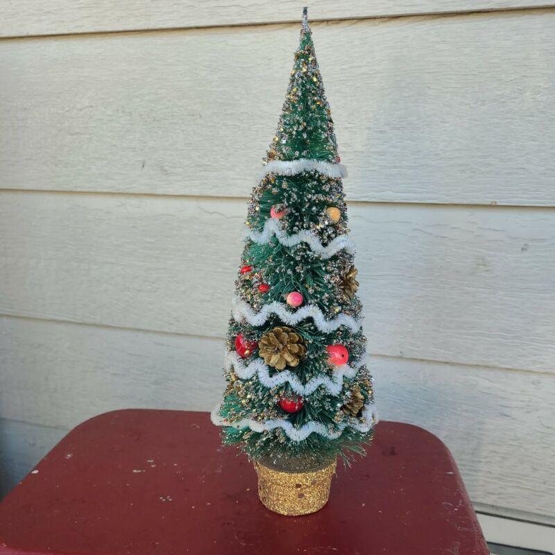 """VTG 12"""" Flocked  Bottle Brush Christmas Tree Pine Cones  Glitter JAPAN MCM kitch"""