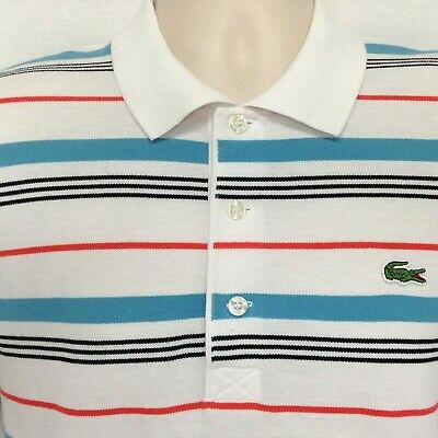 Lacoste Sport Mens Sz 3 Polo Shirt Blue Orange White Striped Short Sleeve Small