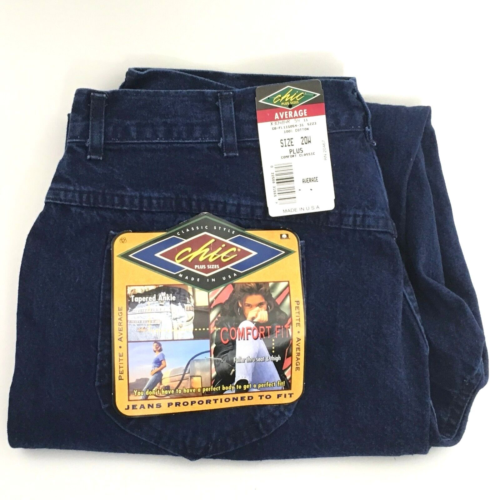 Vintage NEW CHIC Jeans Plus Size 20W Comfort Fit Dark Wash H