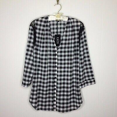 Checkered Blouse - Stitch Fix Fate Blouse Shirt Size L Black White Checkered Lace Detail NWT $45