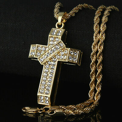 Cross 3D Banner Iced Out Pendant Necklace Crucifix 14k Gold PT 24