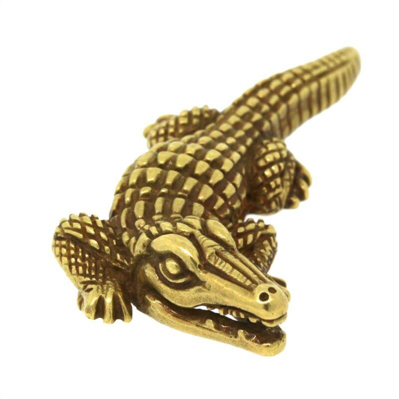 B. Kieselstein Cord Vintage 1988 Jewelry 18K Yellow Gold Alligator Pin/Brooch