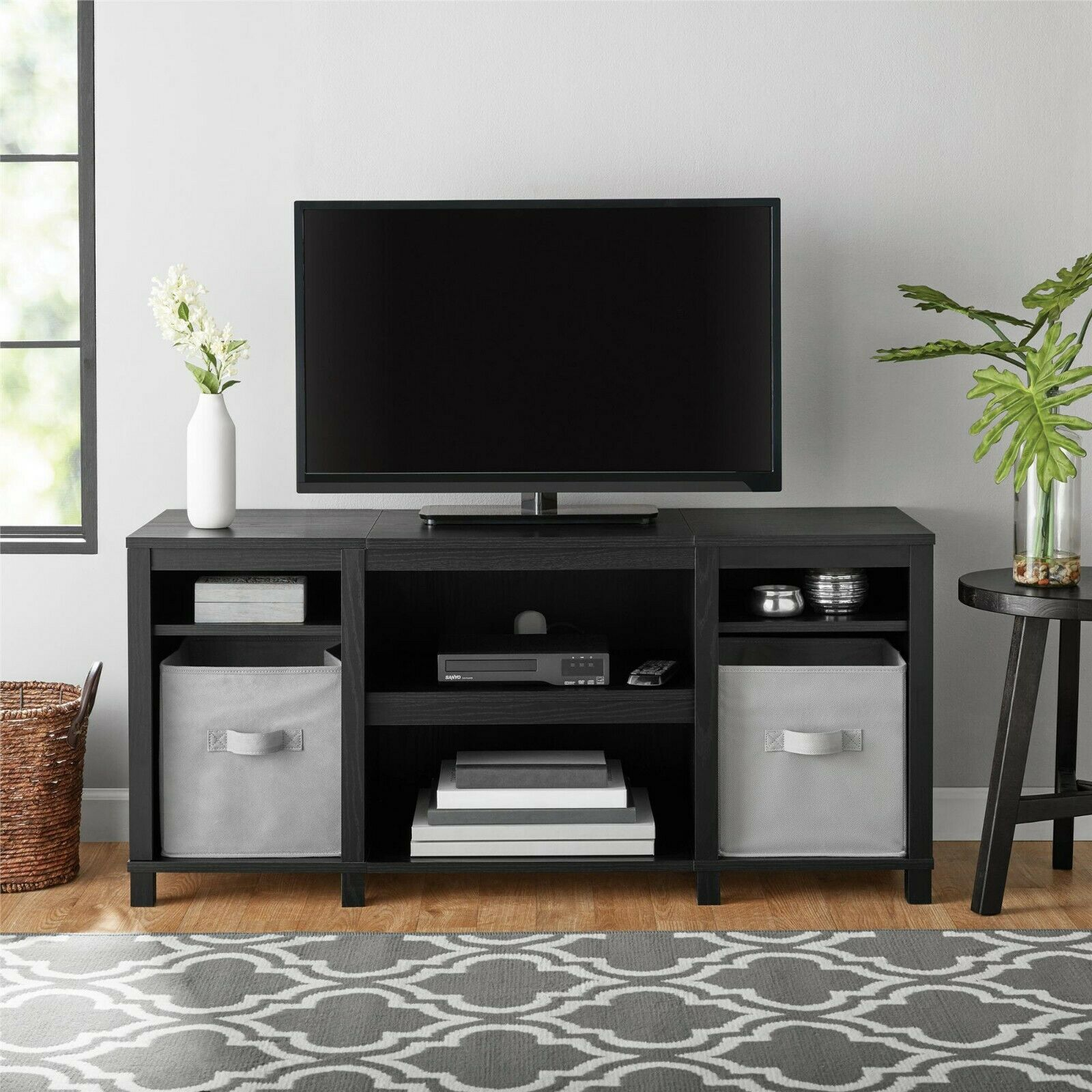 Mainstays Parsons Wood TV Stand for up to 50 inch TVs - Blac