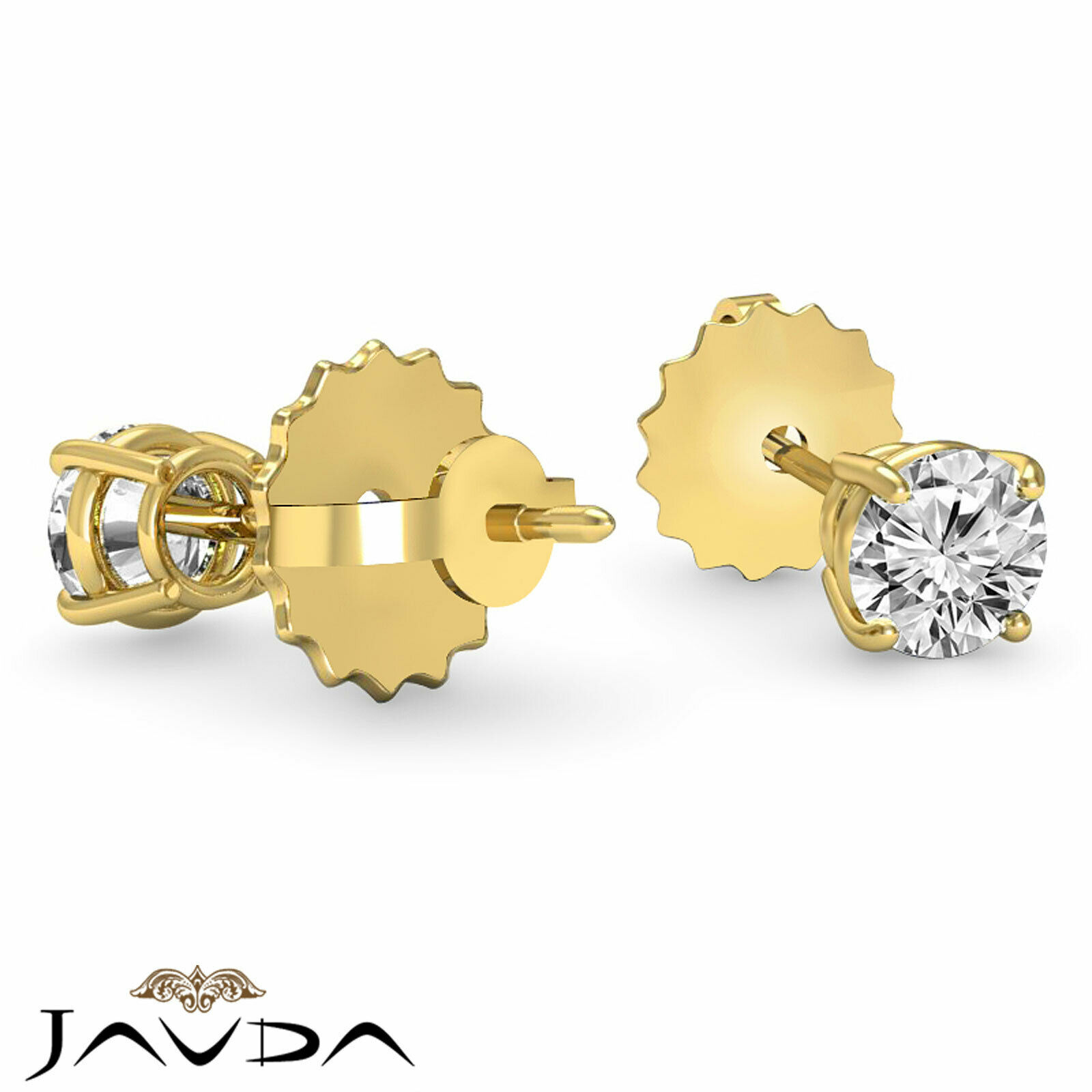 4 Prong Double Wire Round Cut Diamond 1 Pair Stud Women's Earrings 1/2 ctw. 3