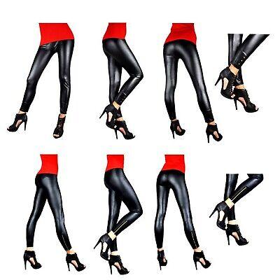 Leggins LACK Look Leggings  S - XL Schwarz Damen Hose Leder-Look Wet-Look