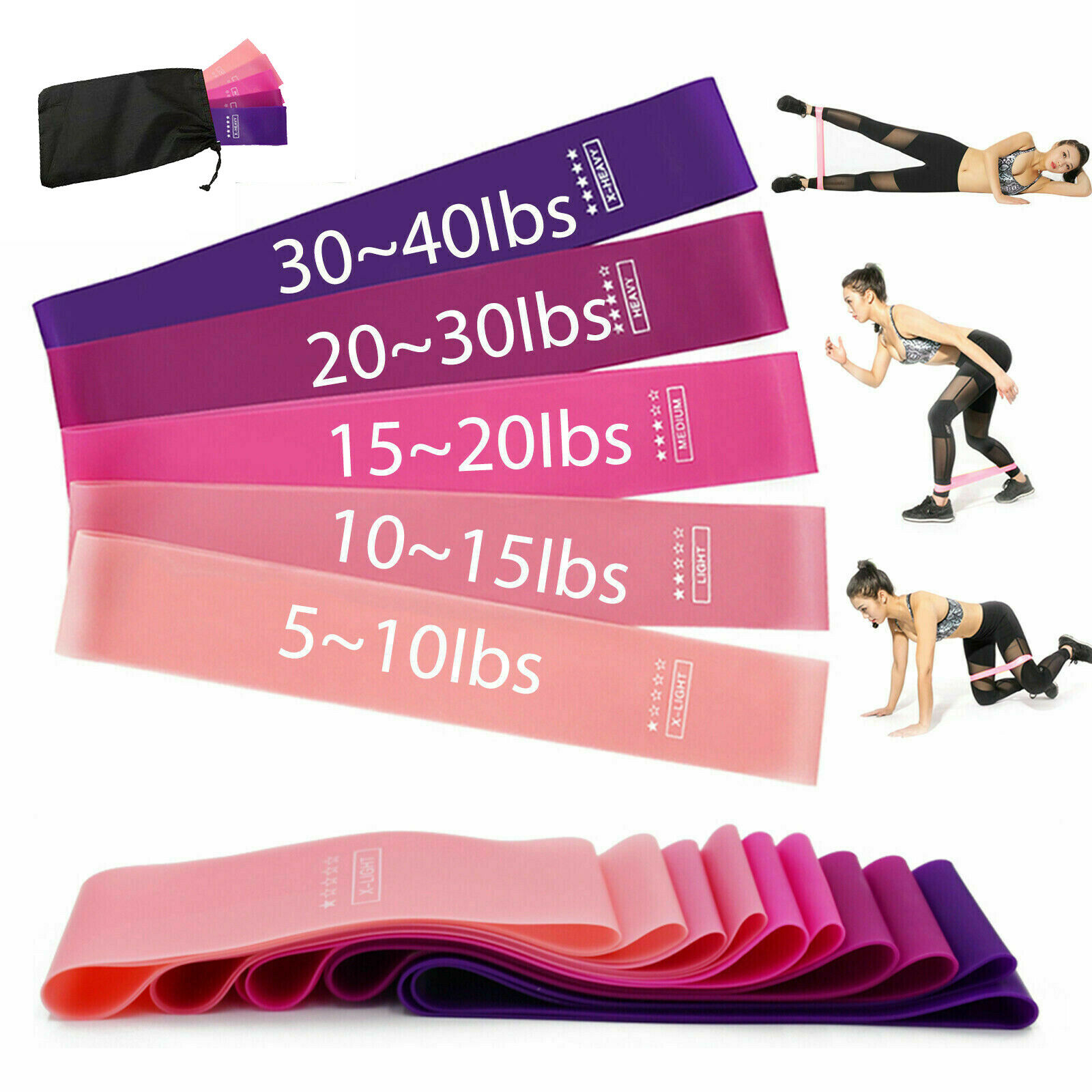 US Workout Resistance Bands Loop Set Fitness Yoga Booty Leg Exercise Band Fitness Equipment & Gear
